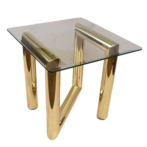 zig zag end table vintage 1970s brass tubular zig zag z end table by karl