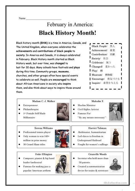 black history month worksheet free esl printable