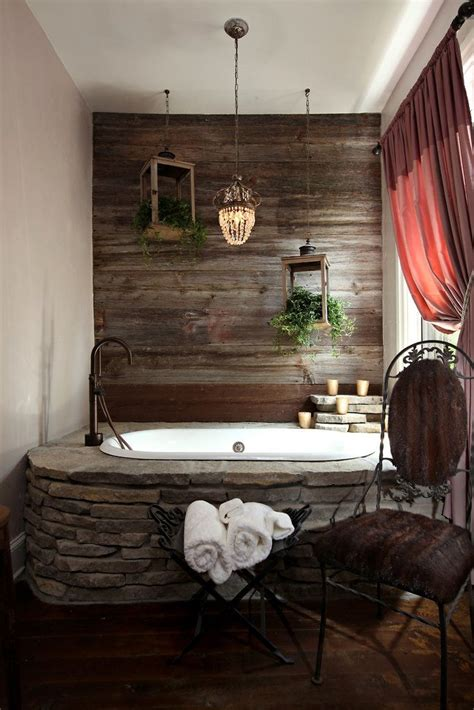 aged wood wall stone inset tub farmhouse faucet great