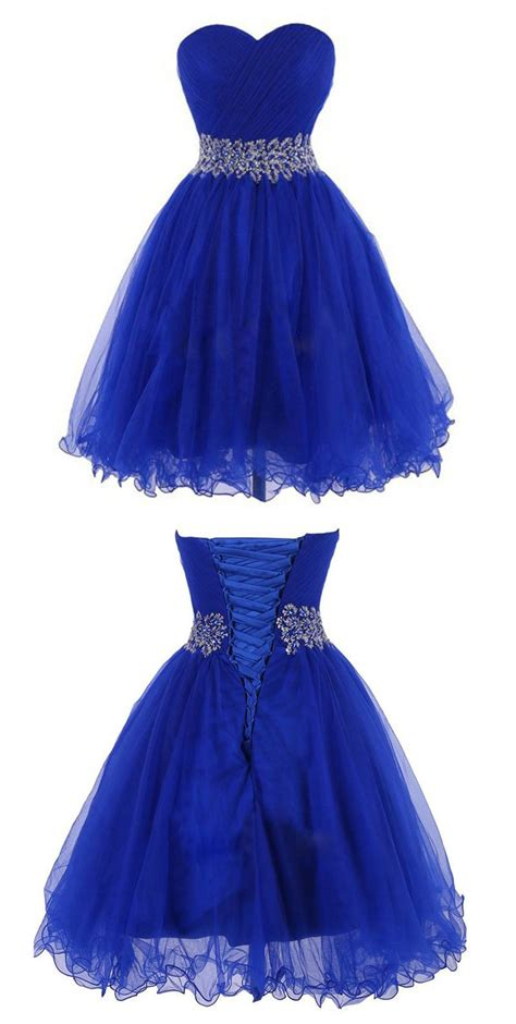 shabby blue kunee cheap sweetheart knee length royal blue homecoming dress with beading waist dresses