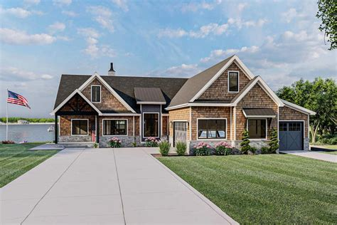 rustic craftsman lake house plan  cathedral ceiling  great room dj architectural