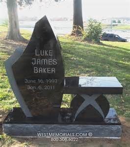 Black Bench Fit by Baker With Matching Bench Headstone In Black Granite