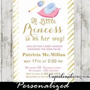 Gold Foil Princess Theme Baby Shower Invitation