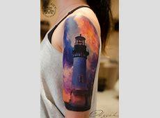 Lighthouse Sleeve Beautiful Colors Best tattoo design ideas