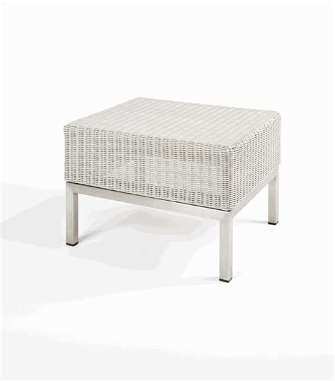 hton outdoor synthetic white wicker end table w glass