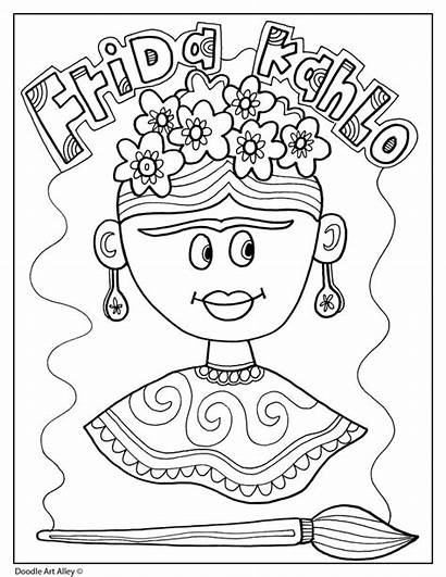 Frida Heritage Hispanic Month Kahlo Coloring Pages