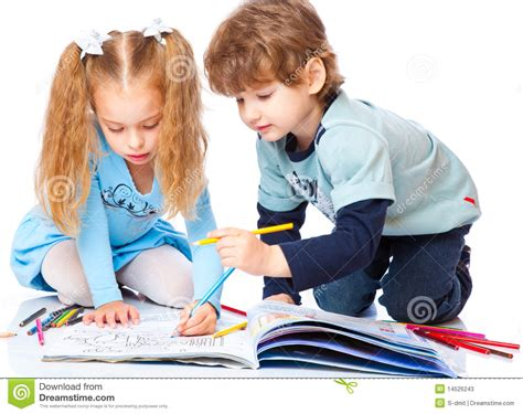 Girl And Boy Are Painting Stock Image. Image Of Beautiful