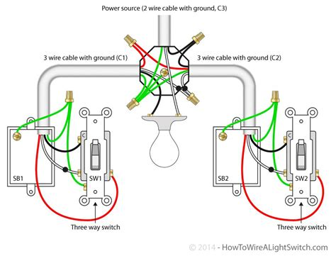 Single Light Between Way Switches Power