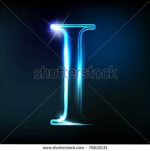 Glowing neon letter on dark background Letter I by
