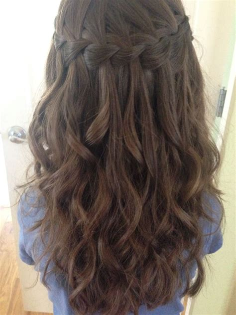 Braided And Curled Hairstyles by Waterfall Braid I Did On My Niece With Next Day Curls