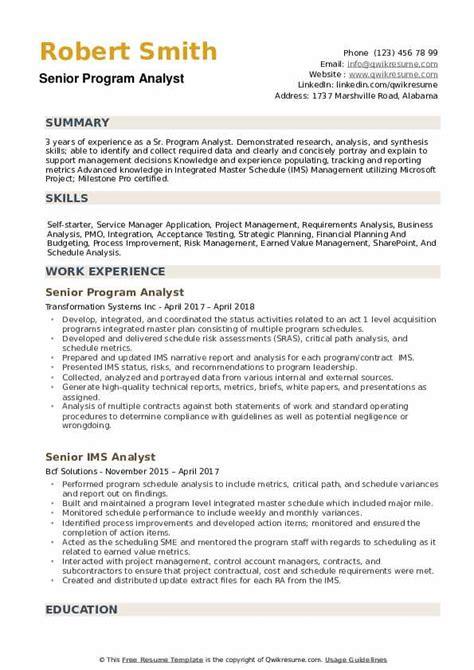 Program Analyst Resume by Senior Program Analyst Resume Sles Qwikresume