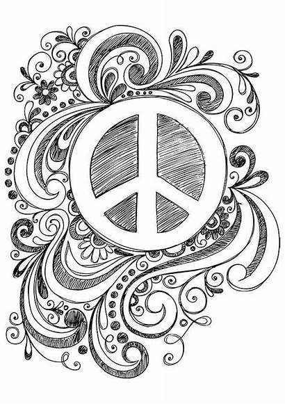 Peace Coloring Pages Sign Printable Drawing Adult