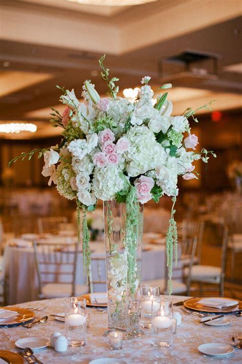 ivory green  blush tall wedding reception centerpieces