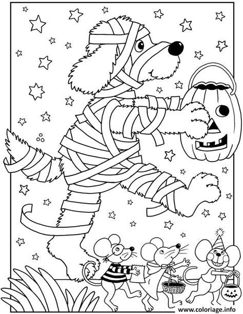 coloriage halloween facile chien momie dessin