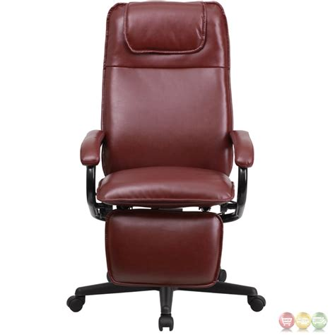 high back burgundy leather executive reclining office