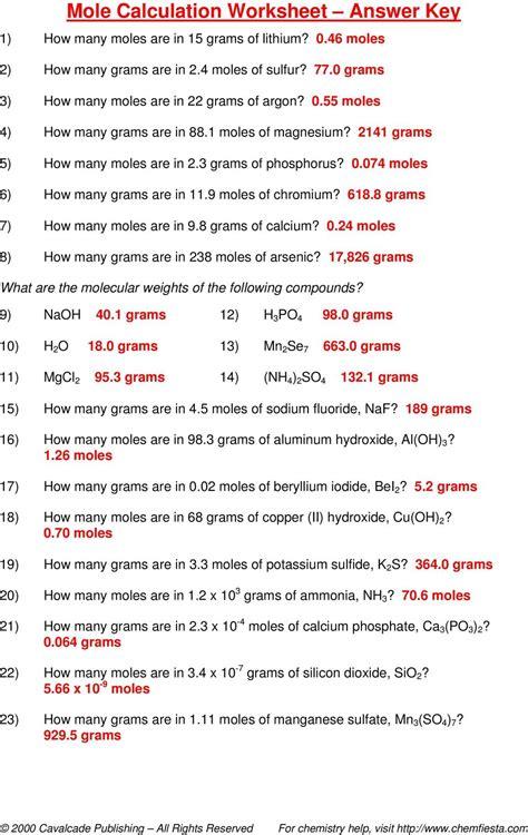 Moles, Molecules, And Grams Worksheet Answer Key Pdf