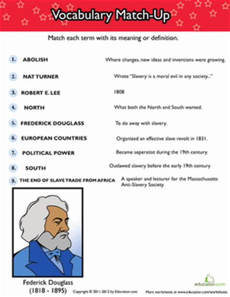 history of slavery vocabulary match up homeschool