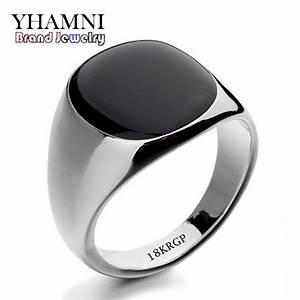 hot sale fashion black wedding rings for men brand luxury With black onyx wedding rings for men