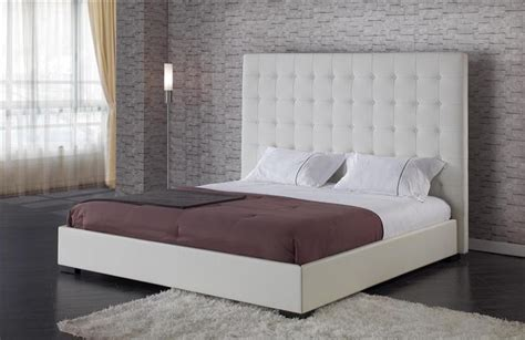contemporary white leather square headboard bed
