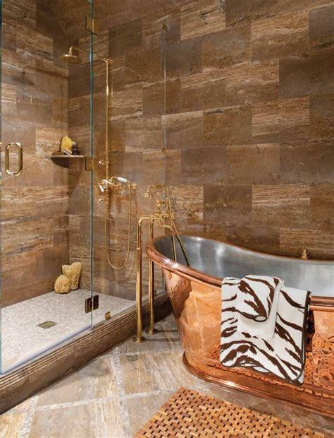 copper bathtub  give  unique    bathroom