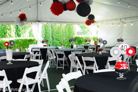 black red and silver 40th birthday party for him