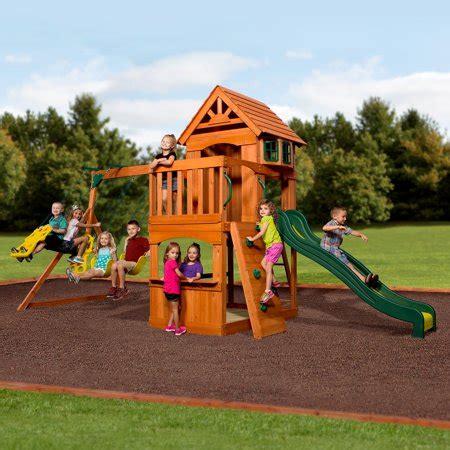 Walmart Backyard Playsets by Backyard Discovery Atlantis Cedar Wooden Swing Set