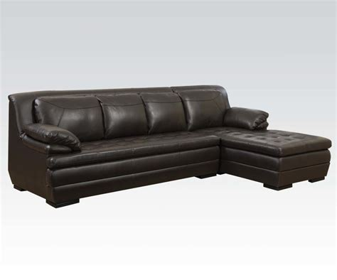 brown leather chaise sofa dark brown leather match tufted contemporary sectional