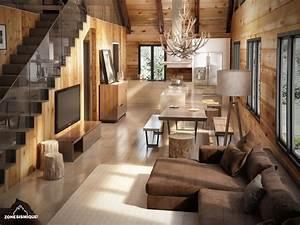 Zone sismique bois hamel chalet interieur salon cuisine v2 for Interieur salon