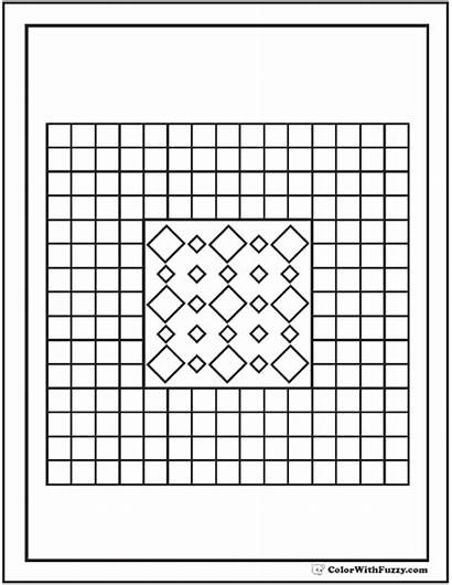 Coloring Pattern Pages Geometric Sheets Square Diamonds
