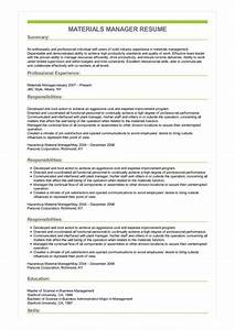 Summary Skills Examples Sample Materials Manager Resume