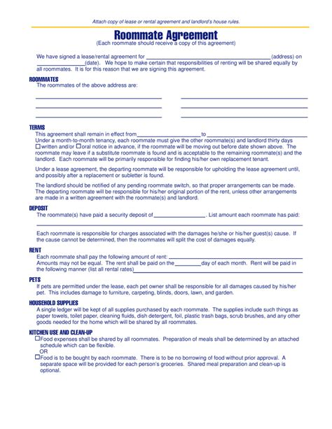 Roommate Agreement Template Free Michigan Roommate Agreement Template Pdf Eforms