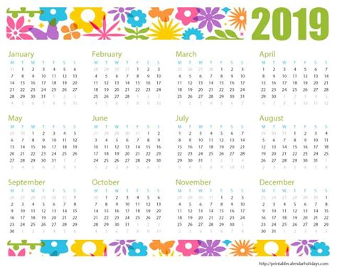 2019 Calendar Printable, Templates, Word, Excel, Wallpapers