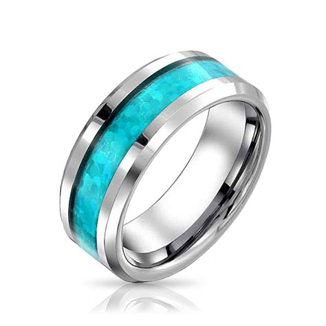 mens blue opal inlay tungsten wedding band ring