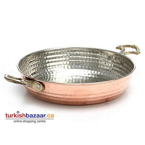 large traditional turkish handmade copper pan geleneksel bakir sahan tava turkish bazaar
