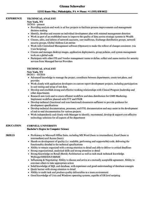 Technical Resume by Technical Analyst Resume Bijeefopijburg Nl