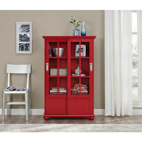 Bookcase Glass Doors by Altra Furniture Aaron Glass Door Bookcase