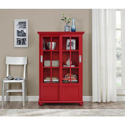 Altra Furniture Aaron Lane Red Glass Door Bookcase