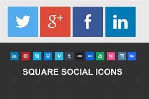 Nice Square Social Icons ~ Icons ~ Creative Market  Social