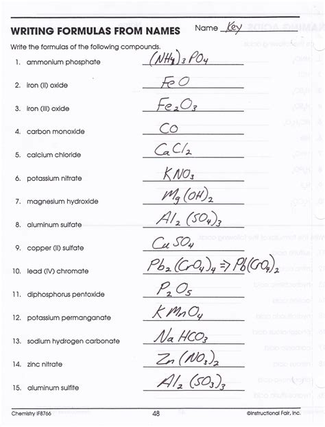 heritage high school chemistry 2010 11 writing compound names and formulas key compounds worksheet part 2a writing binary molecular