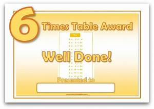 Print Times Table Chart 6 Times Table Award Certificate Template