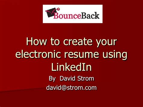 Create Your Resume From Linkedin by How To Create Your Electronic Resume In Linkedin