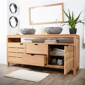 Meuble salle de bain bois 2 vasques meuble decoration maison for Salle de bain design avec meuble sous vasque bois castorama