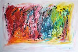 Tableau Contemporain Grand Format : tableau abstrait moderne multicolore grand format ~ Teatrodelosmanantiales.com Idées de Décoration