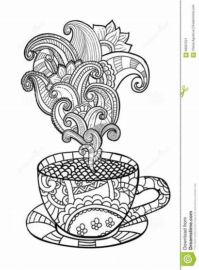 Coloring Coffee Tea Cup Adult Abstract Vector