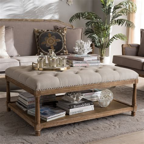 rectangular ottoman coffee table baxton studio carlotta french country weathered oak beige