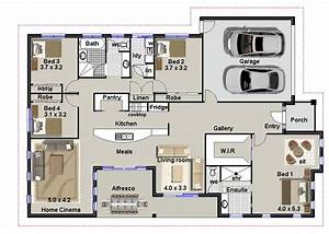 4 bedroom house plans residential house plans 4 bedrooms for Blueprints for 4 bedroom homes