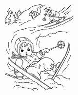 Coloring Winter Skiing Cute While Little Kid Down Slip Pages Print sketch template