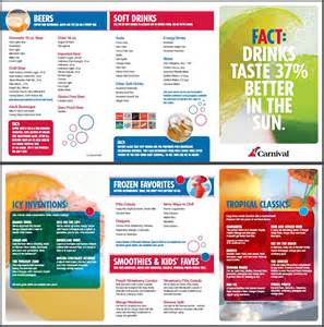 carnival cruise line bar drink menu cruise critic