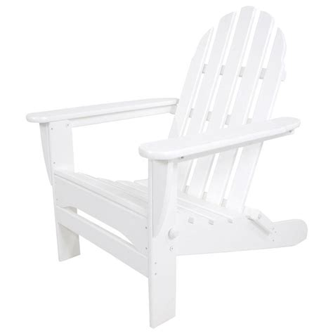 Blue Plastic Adirondack Chairs Home Depot by Polywood Classic White Folding Plastic Adirondack Chair