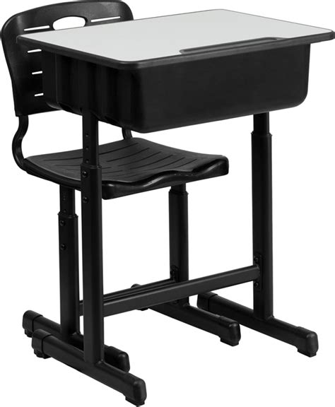 flash furniture adjustable height student desk and chair with black pedestal ebay